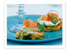 Smoked salmon with sweetcorn fritters