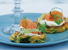 Sweetcorn fritters with smoked salmon recipe